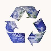 Earth Blue Recycle Symbol Isolated on White Background - stock photo