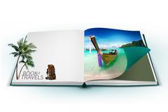 3D avoin kirja thaimaa bangkok matka käsite Piirros