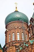 saint sofia russian orthordox church dome harbin china - stock photo