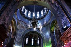 saint sofia russian orthordox church inside dome harbin china - stock photo