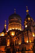 saint sofia russian orthodox church dome details harbin china - stock photo