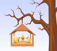 Bird house with birds are hung on branch Stock Illustration