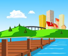 Daytime view of the city across the lake Stock Illustration
