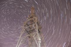 Star trail radio transmitter tower Stock Photos