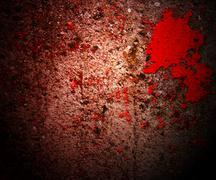 blood on grunge wall crime background - stock illustration