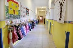 Kindergarten corridor - stock photo