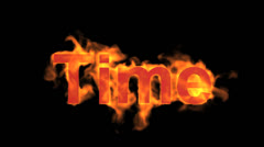 Flame time word,fire text. Stock Footage