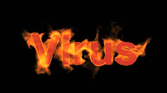 Flame virus word,fire text. Stock Footage
