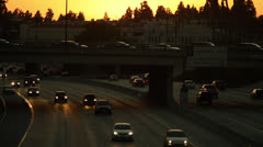 Caifornia Highway, 134 Freeway at sunset Stock Footage