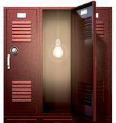 Red school lockers with light bulb inside front Stock Illustration