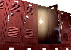 Red school lockers with light bulb inside perspective Stock Illustration