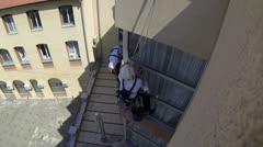 Climbers Washing Windows Stock Footage