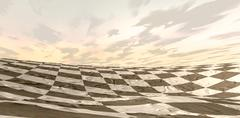 desert chess board landscape - stock illustration