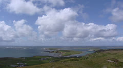 Clouds above rugged Atlantic coast at Clifden, Connemara, Ireland. Stock Footage