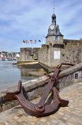 Marine anchor at Ville Close of Concarneau in France Stock Photos