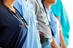 Doctors: anonymous doctors in line Stock Photos