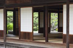 Traditional japanese tearoom in formal garden Stock Photos
