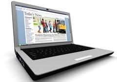 3d: news story on laptop: back to school - stock illustration