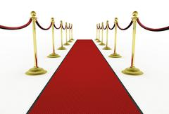 Stock Illustration of 3d: red carpet with stanchions for movie premiere