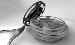 3d: film reel with movie film - stock illustration