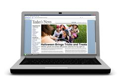 3d: news story on laptop: kids trick or treating on halloween Stock Illustration