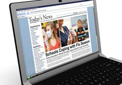 3d: news story on laptop: flu season - stock illustration