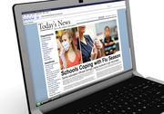 Stock Illustration of 3d: news story on laptop: flu season