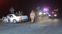 Car Crash debris - stock footage