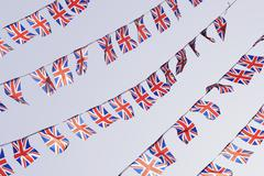 Rows of uk union flag bunting Stock Photos