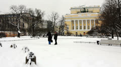 Alexandrinsky Theatre and People inWinter, St. Petersburg, Russia Stock Footage