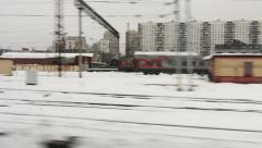High-speed train moving through the city (POV) Stock Footage