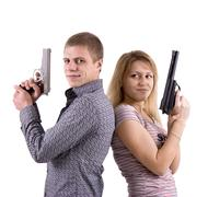 Man and woman with arms Stock Photos