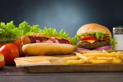fresh fast food meal - stock photo