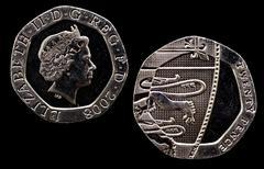 head and tail of twenty pence piece - stock photo