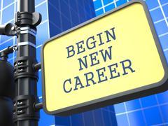 Education Concept. Begin New Career Sign. - stock illustration