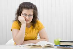 The tired student Stock Photos