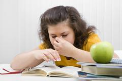 the tired student - stock photo