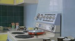 1970's kitchen - dolly 1 - property release Stock Footage