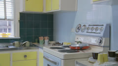 1970's kitchen - dolly 2 - property release Stock Footage