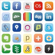 Stock Illustration of Social media square buttons