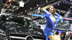 thailand motor show sexy women - stock footage
