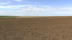 View across an empty field in the Somme, Picardy, France. Stock Footage