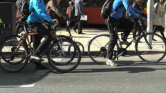 Slow Motion Commuter Cyclists Stock Footage