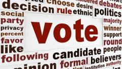 Vote political word clouds design - stock footage