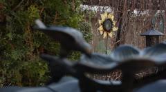Birdbath and Flower Rack Focus Stock Footage