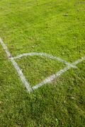 Football pitch corner markings Stock Photos