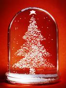 Christmas tree snow globe Stock Photos