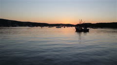 Sunset in Bar Harbor, Maine view from the boat - stock footage