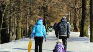 Stock Video Footage of People walking in the park in winter