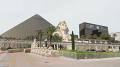 Pyramid and Sphinx Statue at Luxor Hotel, Las Vegas Stock Footage